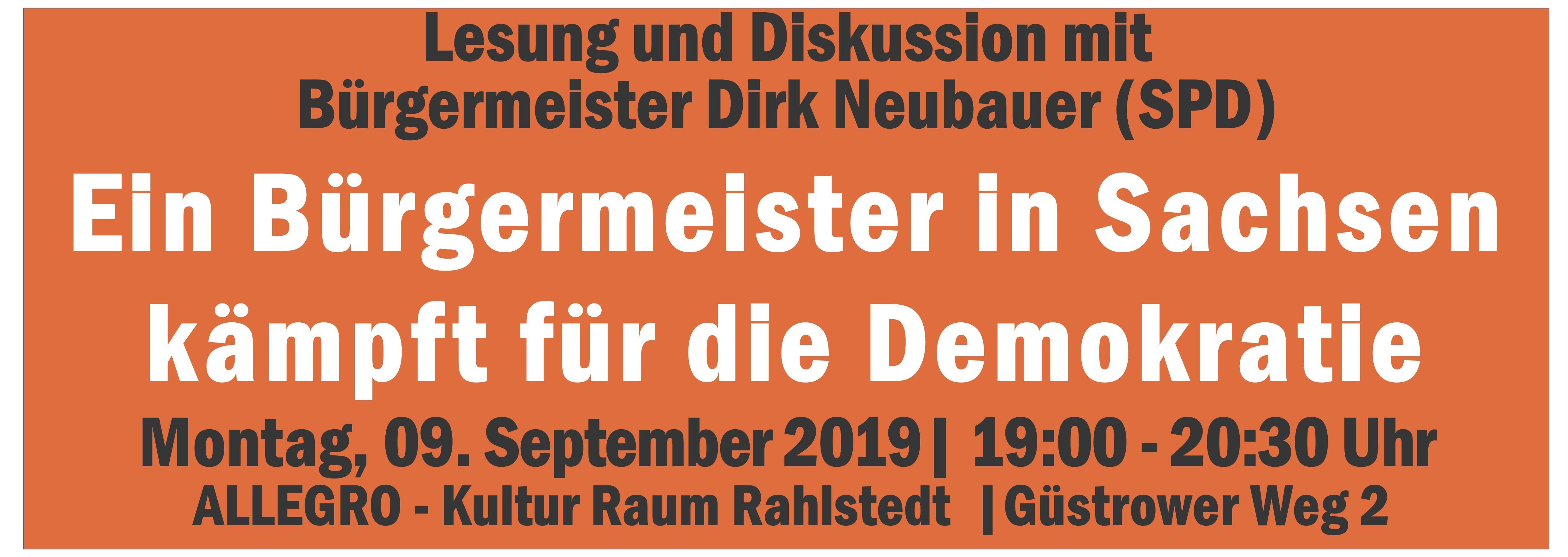 Ein Bürgermeister in Sachsen kämpft für die Demokratie – Einladung zur Lesung und Diskussion mit dem sächsischen SPD-Bürgermeister Dirk Neubauer