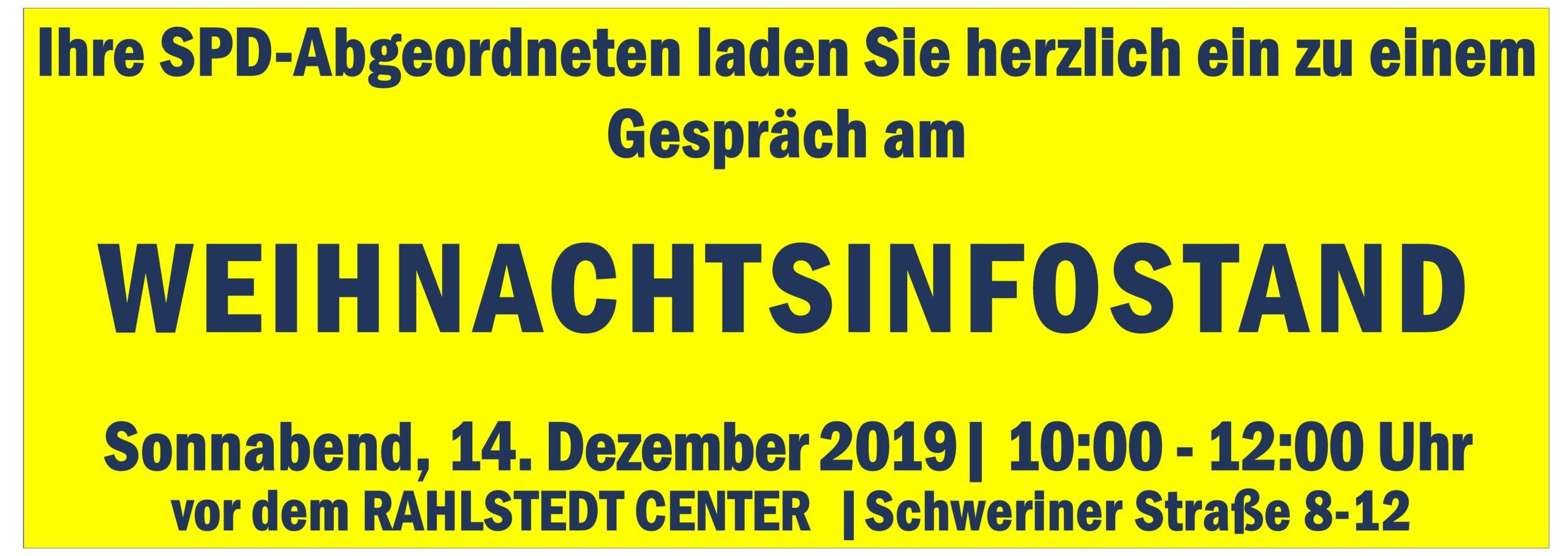 Treffen Sie mich dieses Mal am SPD-Weihnachtsinfosstand in Rahlstedt!
