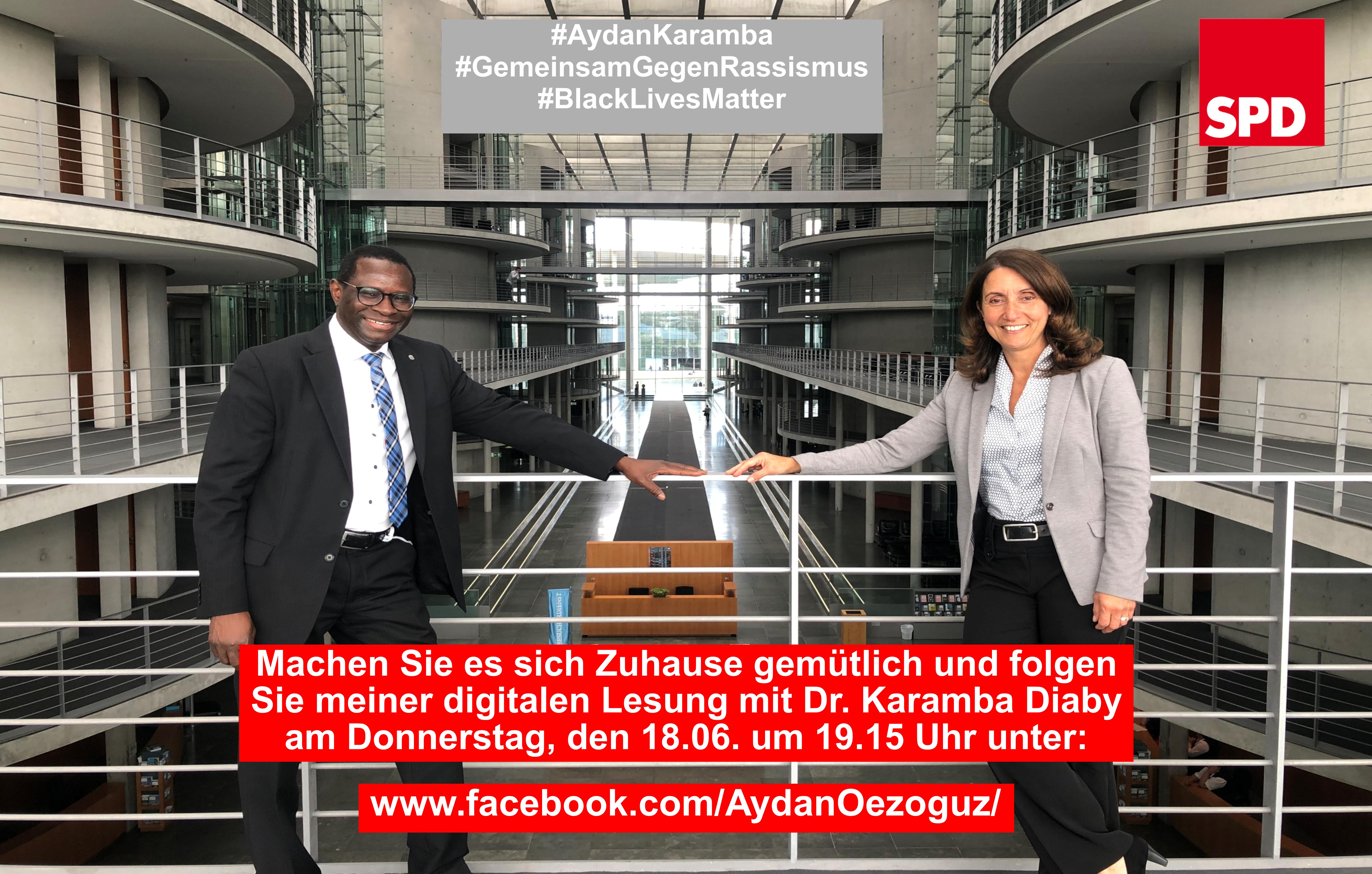 Heute digitale Lesung mit Dr. Karamba Diaby auf meinem Facebook-Kanal